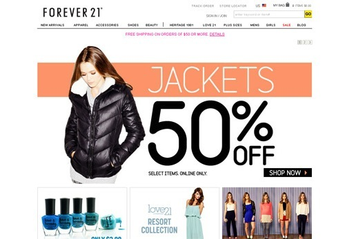 Forever 21 50% off