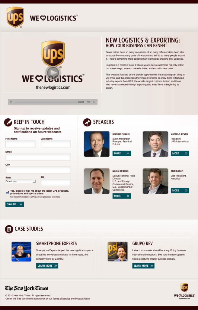 ups webinar landing page