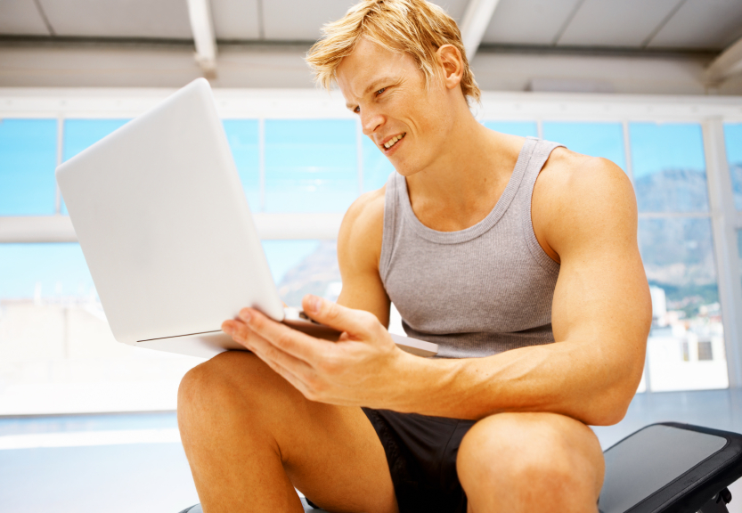 gym user on laptop