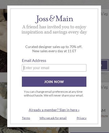 Joss and Main login