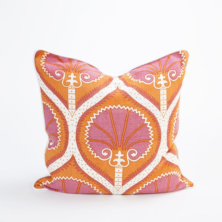 Bright orange and pink Throw Pillow Cover by Celadon Home l #shopceladon