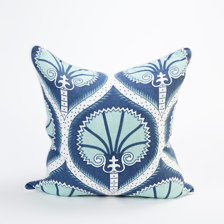 Blue and Teal Patterned Throw PIllow Cover by Celadon Home l #shopceladon