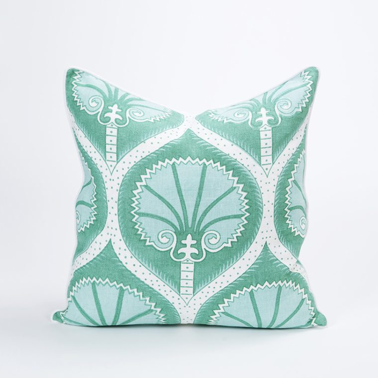 Green and White Patterned Throw Pillow cover  l #shopceladon