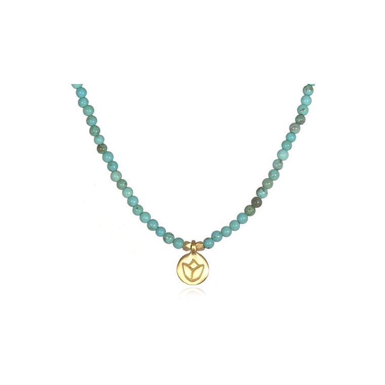 mini lotus and turqouise necklace