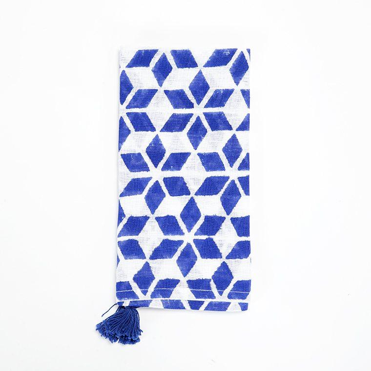 Blue Shaped with Tassles Linen Napkin l #shopceladon