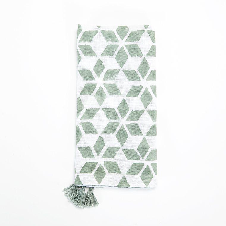 Green Check Linen Napkin with Tassle l #shopceladon