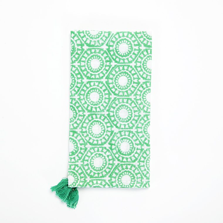 Green Circles Tassled Linen Napkin l #shopceladon