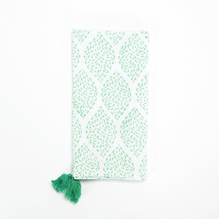 Green Tassle Linen Napkin l #shopceladon