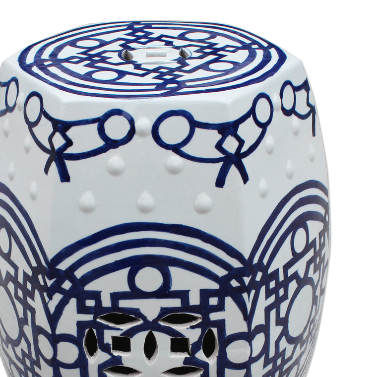 blue-white-pattern-of-lines-hexagonal-stool-shopceladon