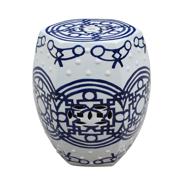 blue-white-pattern-of-lines-hexagonal-stool-1-shopceladon