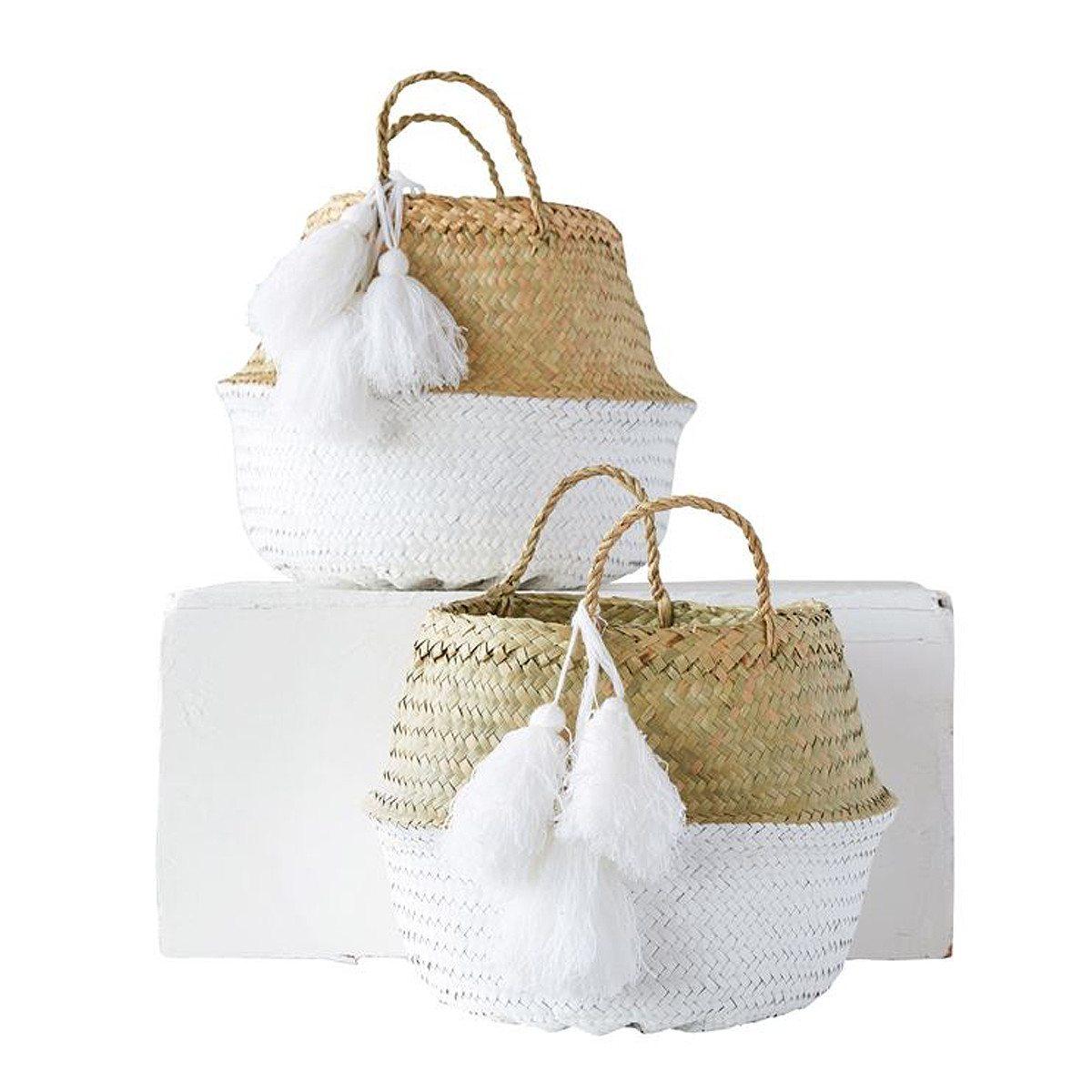 white-tassel-collapsible-basket-shopceladon