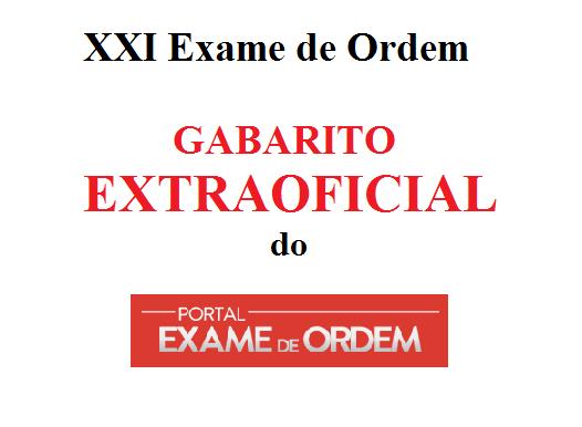 gabarito extraoficial do Portal Exame de Ordem