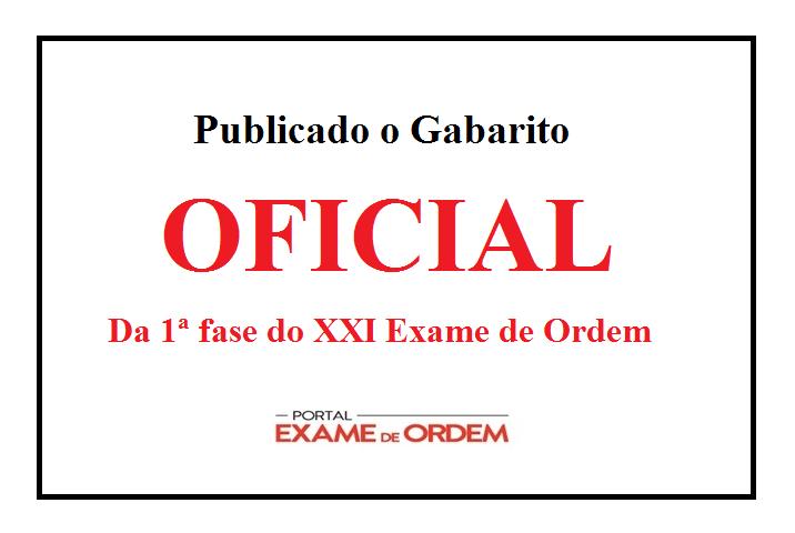 gabarito oficial do XXI Exame de Ordem