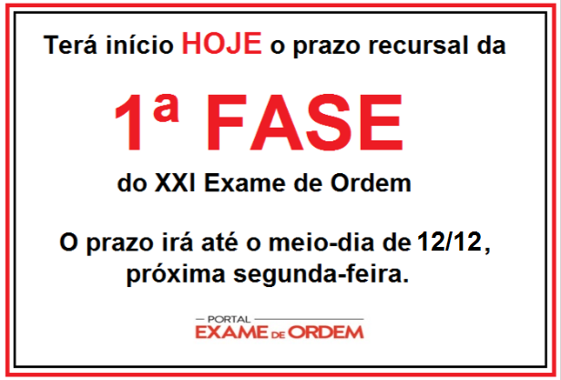 prazo recursal do XXI Exame de Ordem