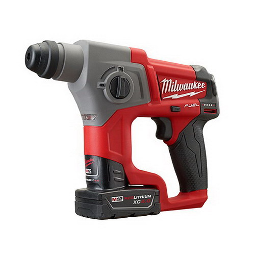 Milwaukee Tools 2416-22XC M12 Fuel SDS Plus Rotary Hammer Kit 12 Volt, 10 Inch Length x 5\/8 Inch Chuck, M12 Redlithium XC4.0 Battery,