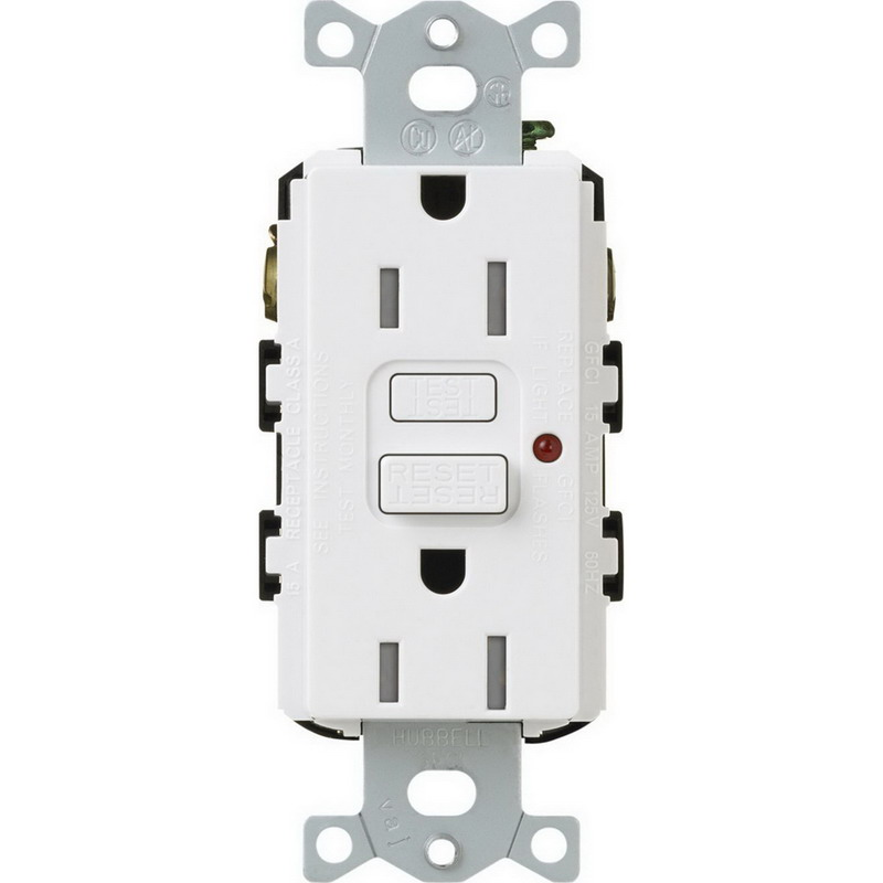 Lutron CAR-15-GFTR-WH Claro Satin Colors Tamper-Resistant GFCI Receptacle Wallbox Mount, 125 Volt, 15 Amp, White,