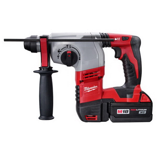 Milwaukee Tools 2605-22 SDS-Plus Rotary Hammer Kit 18 Volt, M18 Red Lithium Battery, 1.8 ft-lb Torque,
