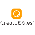 Creatubbles logo orange palette 2016 portrait with symbol square