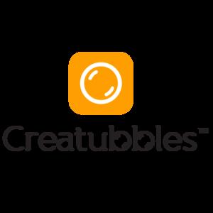 Creatubbles logo orange palette 2016 portrait with symbol square