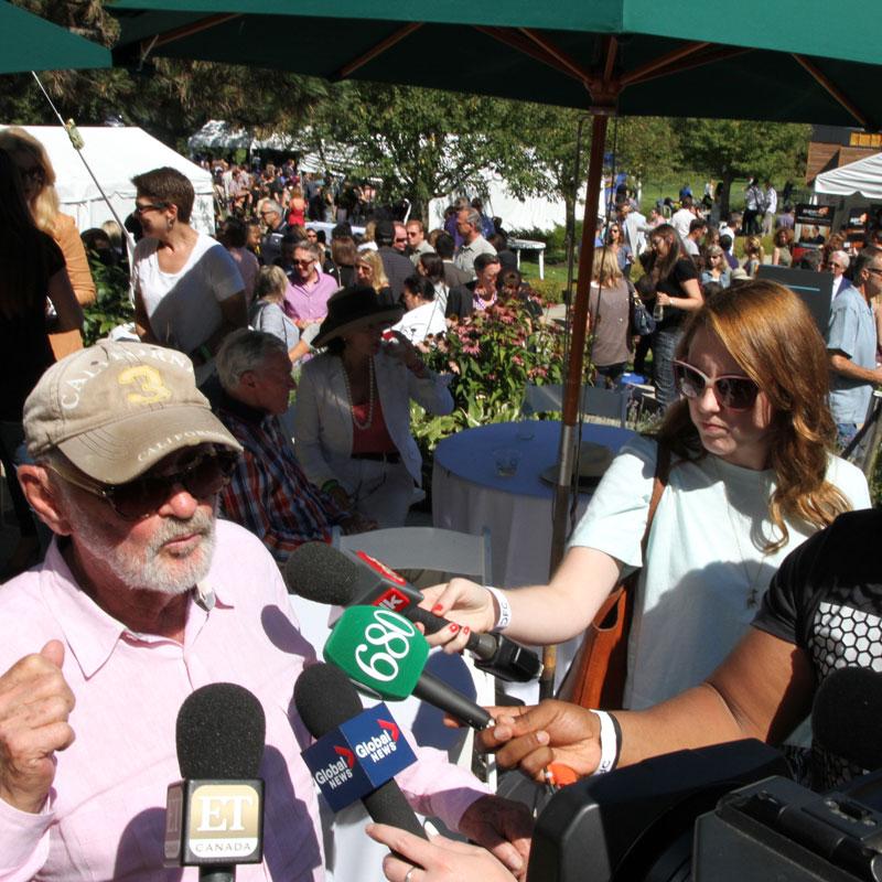 Media scrum with Norman Jewison. Photo credit: Danilo Ursini