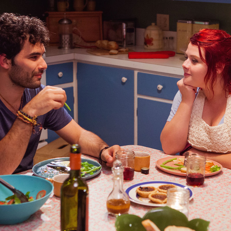 Johnathan Sousa and Melissa Bergland star as Adrian and Lexie in Relative Happiness.