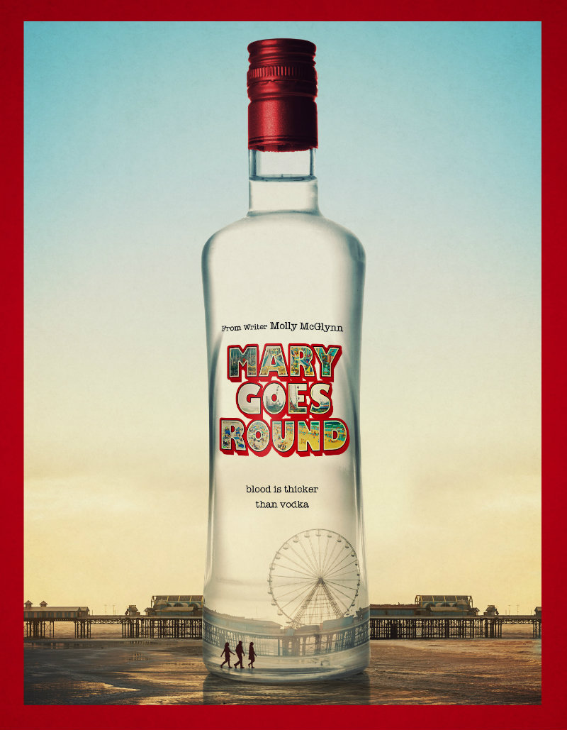 Film poster of a huge vodka bottle with the title Mary Goes Around on the label