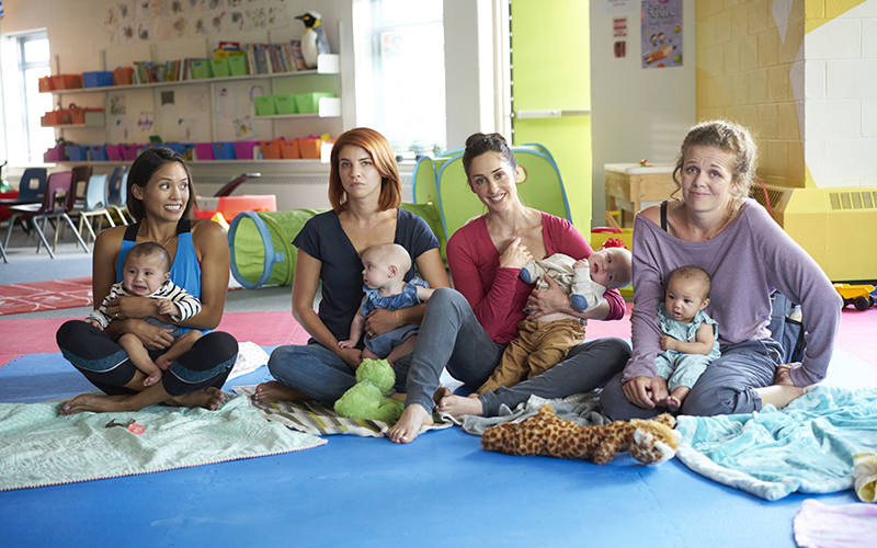 Photo of the four working moms as their characters (l-r): Jenny (Jessalyn Wanlim), Anne (Dani Kind), Kate (Catherine Reitman), Frankie (Juno Rinaldi).