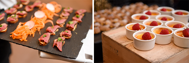 2 Photos of hors d'eouvres platters at CFC Gala