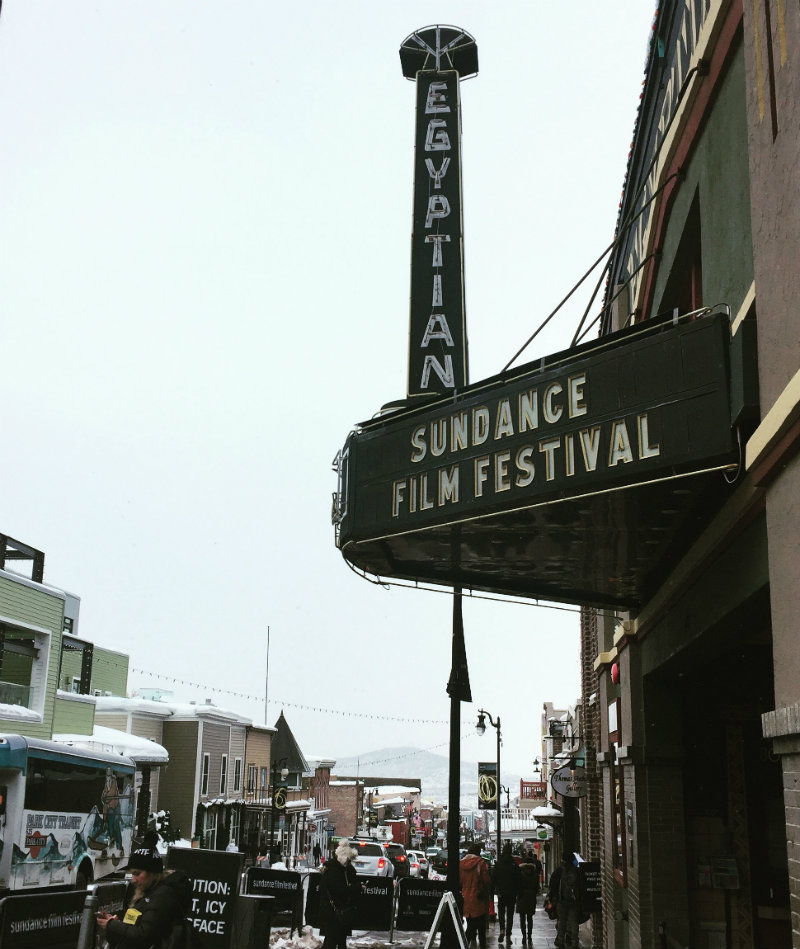 Theatre marquee displaying Sundance Film Festival