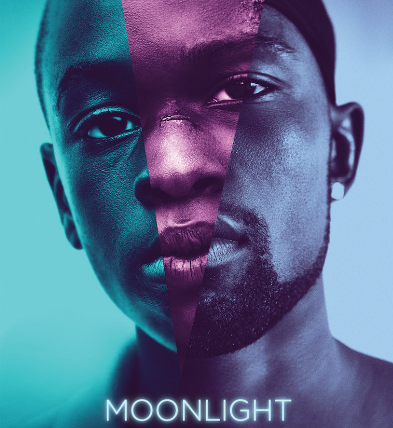 Moonlight movie poster of a black man's face