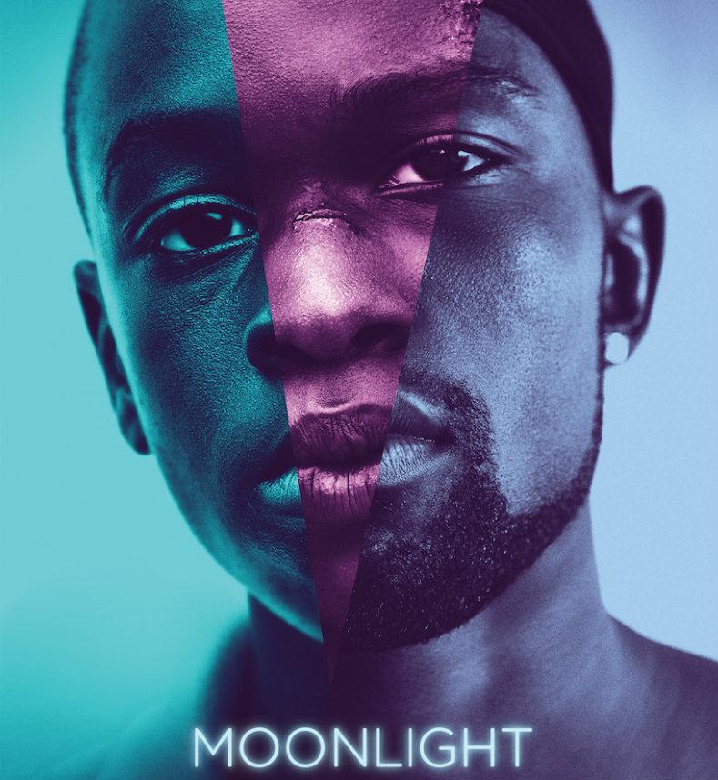 Moonlight movie poster of a black man's face