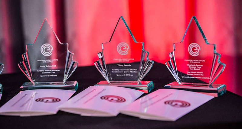 Awards displayed on a table