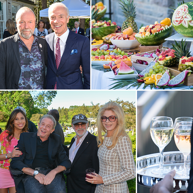 Four photos: top left is two men smiling; top right is a display of fruit; bottom right is two glasses of wine; bottom left is four people posing and smiling for a candid shot.