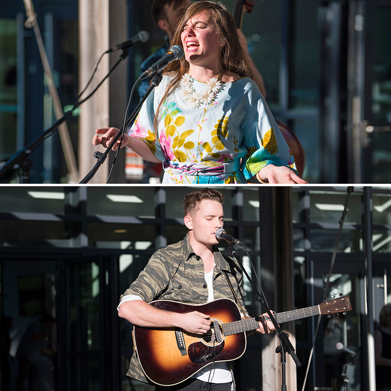 Two photos of a woman (top) and a man (bottom) singing and performing.