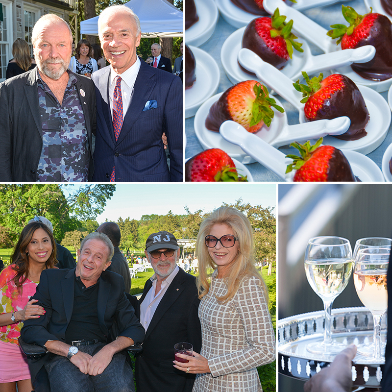 Four photos: top left is two men smiling; top right is a display of chocolate strawberries; bottom right is two glasses of wine; bottom left is four people posing and smiling for a candid shot.