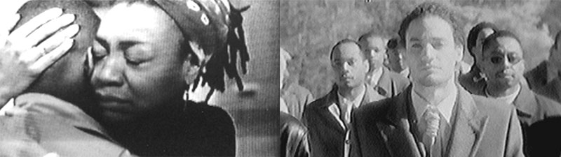 Split screen photo; left image is a woman hugging a man, right image is a group of men walking