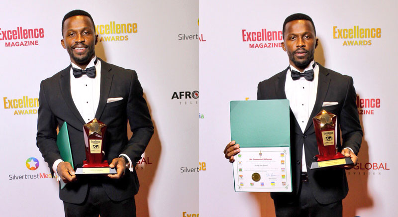 diptych of a man standing against a press wall holding an award