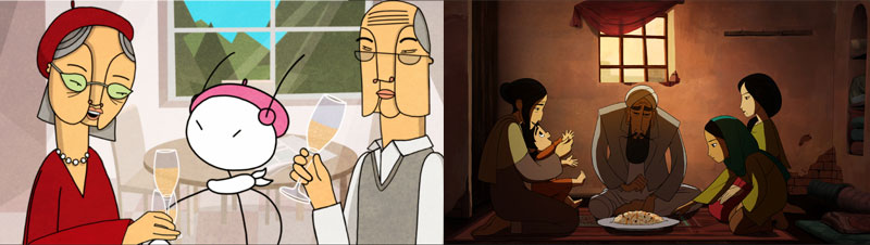 Split screen - two animated images of families sharing food and drink.