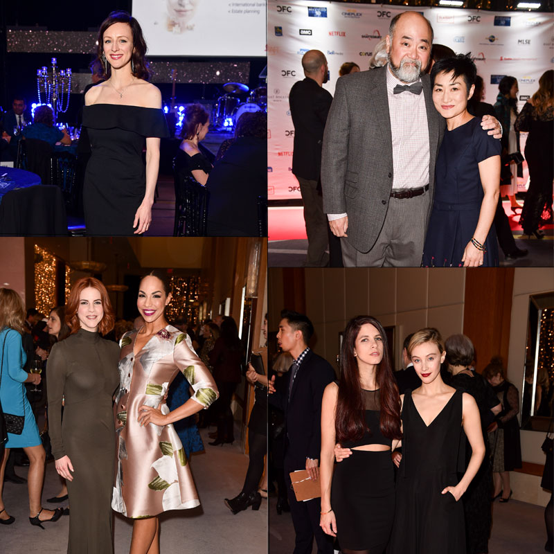 A collage of individuals posing for the camera at a gala.