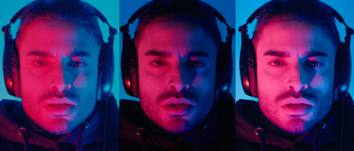 Three side-by-side images of a man wearing headphones