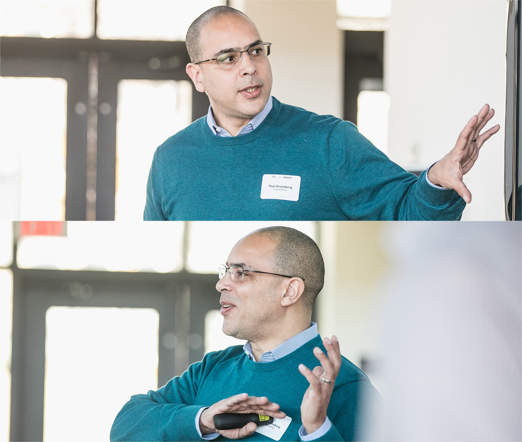Two shots of the same man, speaking and pointing to a screen, part of his presentation.