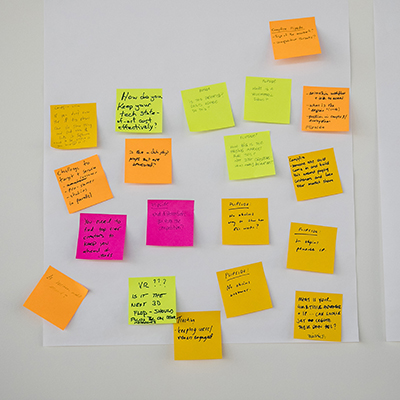 A white wall with colourful post-in notes on it.