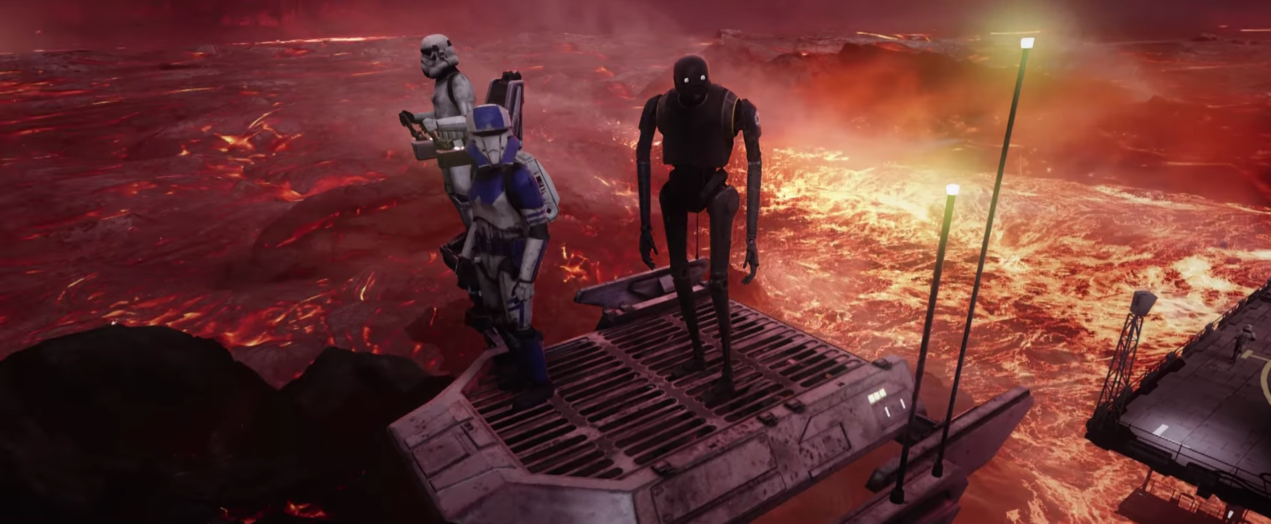 Three robotic-looking figures stand on a metal platform with a sea of lava and flames beneath them.