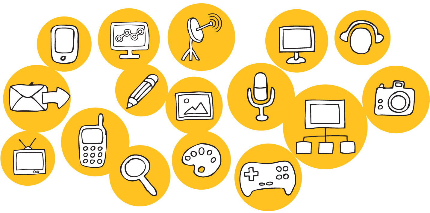 a series of icons of media and entertainment, such as radios, computers, drawn in small yellow circles.
