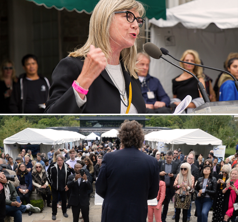 Top photo is a woman speaking at a podium in close-up; bottom photo is a man, seen from behind, addressing a large crowd outside.