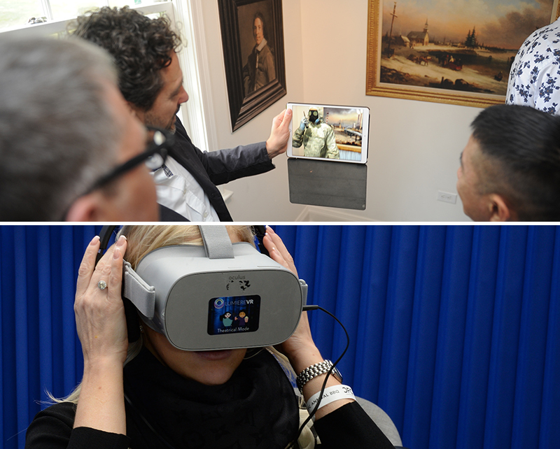 Two photos, top is a group of people clusered around an iPad, with paintings on the walls in the background; bottom photo is a woman putting on a VR headset.