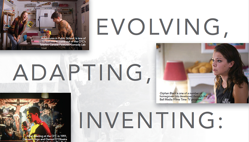 "Three images with the words ""Evolving, Adapting, Inventing"" around them: top left inset is a woman speaking to a distracted teenage boy; middle right inset is a young woman sitting in a bedroom and staring off into space; bottom left inset is a person backlit and speaking into a microphone, with a crucifix in the background."
