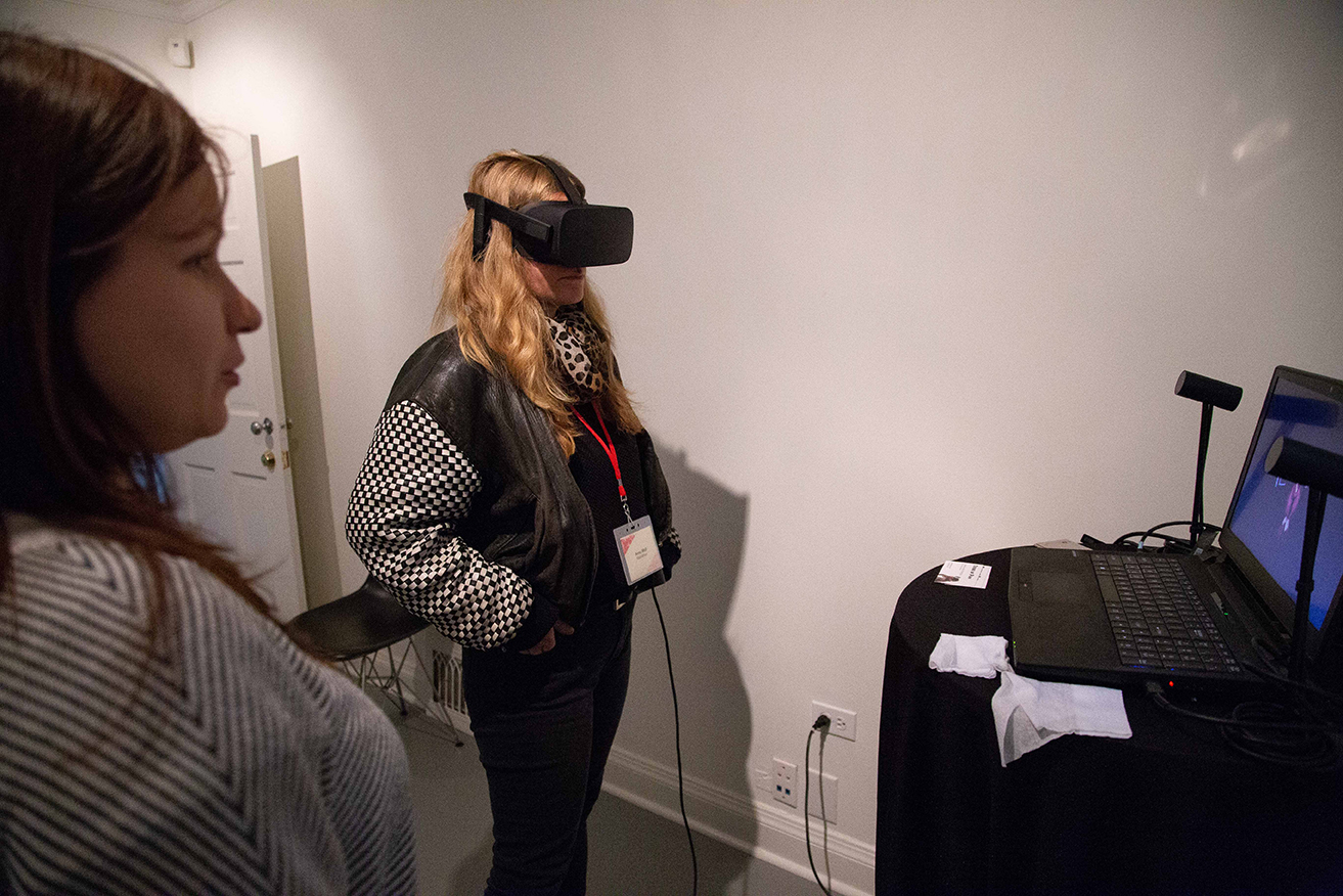 Canadian Film Centre Led Chaser Rookie Electronics Robotics Projects A Woman Wearing Vr Headset Another Is On The Left And In Front