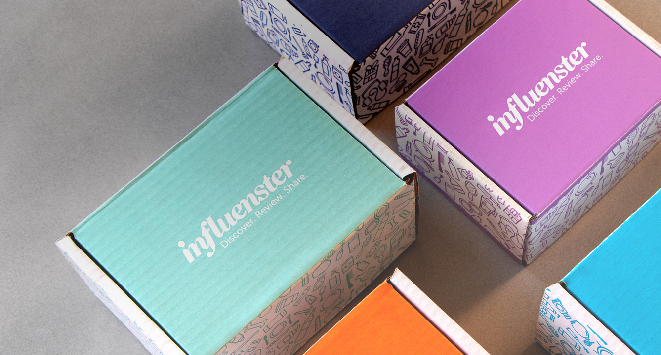 A few colourful boxes. The text on top of the box reads: Influenster - Discover. Review. Share.