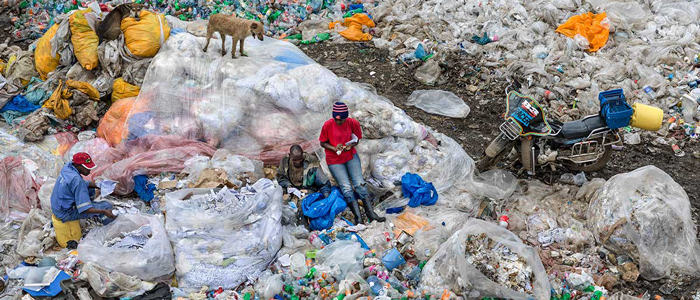 Three people and a dog stand amongst trash in a dump